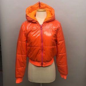 Stella McCartney for adidas shiny orange puff coat